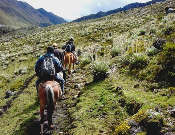 Personas a caballo en los páramos de Mérida